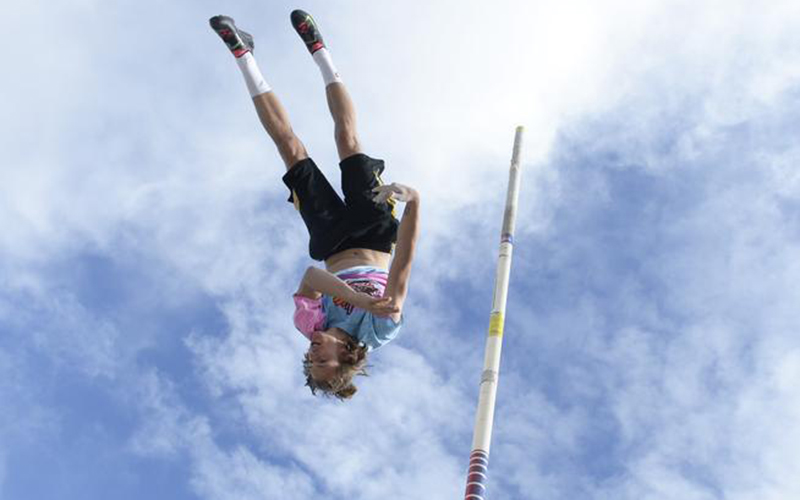 LOUISVILLE, CO - April 14:  Monarch's Andrew Barlow practices pole vaulting April 14, 2015 in Louisville, Colorado. Barlow is the 5A state champion in pole vaulting for 2014 and is looking for a repeat championship to conclude his high school career.  (Photo By Brent Lewis/The Denver Post)
